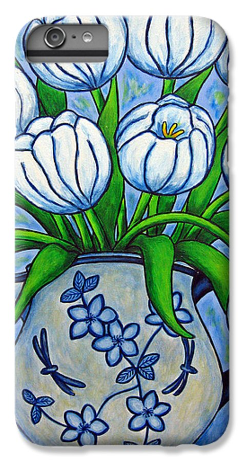 Flower IPhone 7 Plus Case featuring the painting Tulip Tranquility by Lisa Lorenz