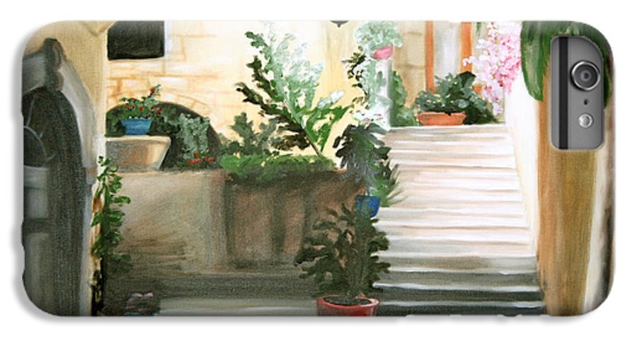 Portrait IPhone 7 Plus Case featuring the painting Tuscan Courtyard Detail by Maryn Crawford