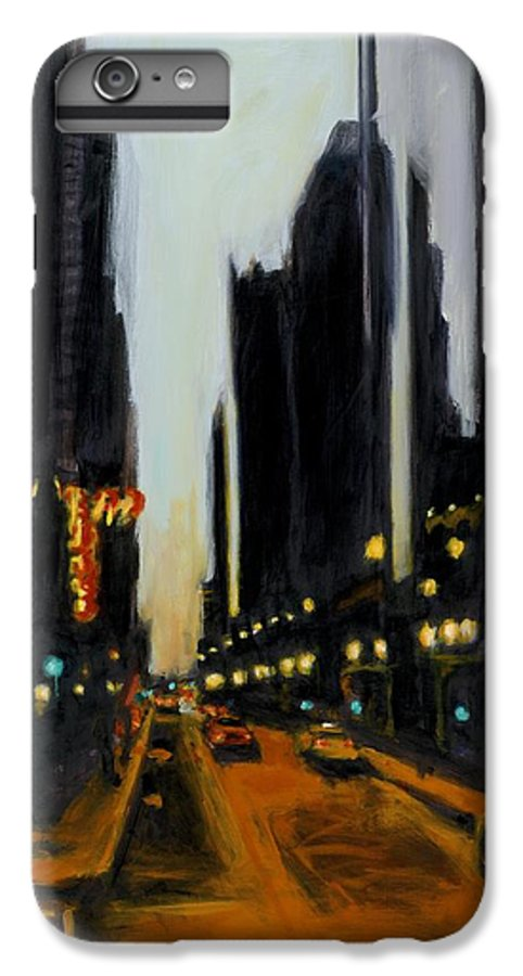 Rob Reeves IPhone 7 Plus Case featuring the painting Twilight In Chicago by Robert Reeves