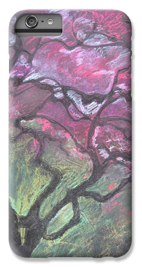 Pastel IPhone 7 Plus Case featuring the drawing Twisted Cherry by Leah Tomaino