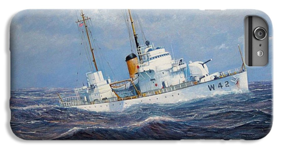 Marine Art IPhone 7 Plus Case featuring the painting U. S. Coast Guard Cutter Sebago Takes A Roll by William H RaVell III