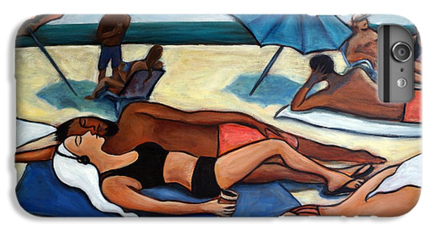 Beach Scene IPhone 7 Plus Case featuring the painting Un Journee A La Plage by Valerie Vescovi