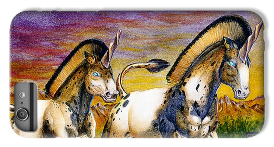 Artwork IPhone 7 Plus Case featuring the painting Unicorns In Sunset by Melissa A Benson