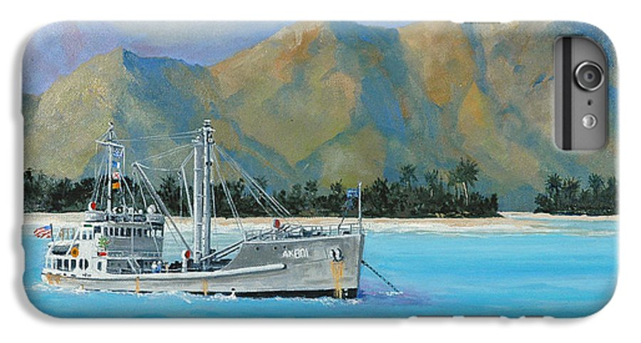 Seascape IPhone 7 Plus Case featuring the painting Uss Reluctant Anchored Off Ennui by Glenn Secrest