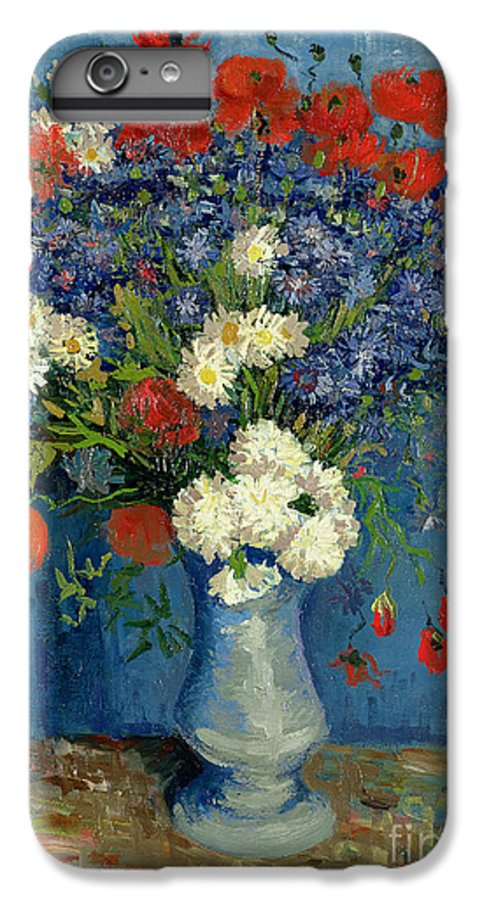 Still IPhone 7 Plus Case featuring the painting Vase With Cornflowers And Poppies by Vincent Van Gogh