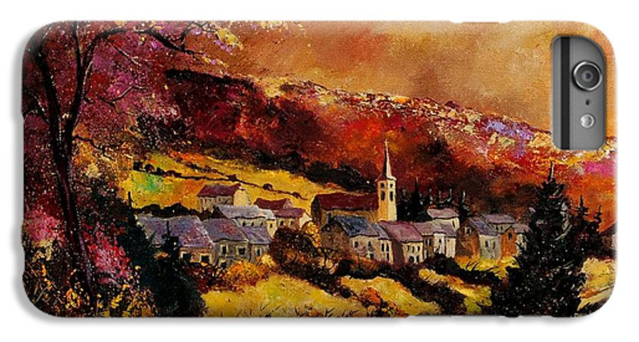 River IPhone 7 Plus Case featuring the painting Vencimont Village Ardennes by Pol Ledent