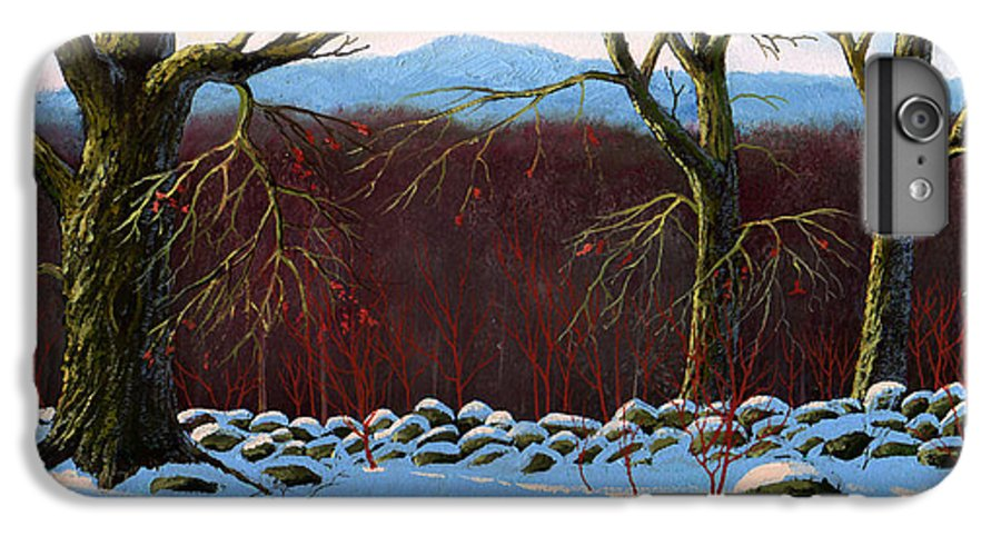 Landscape IPhone 7 Plus Case featuring the painting Vermont Stone Wall by Frank Wilson