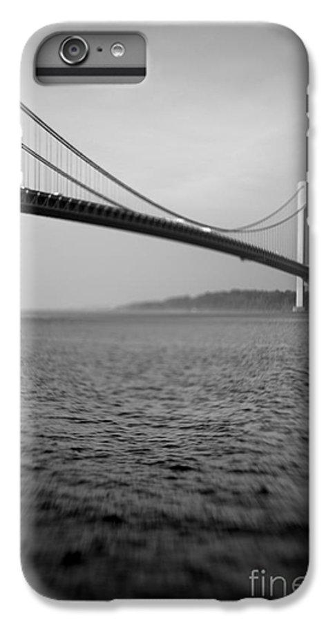 Black & White IPhone 7 Plus Case featuring the photograph Verrazano Bridge 1 by Tony Cordoza