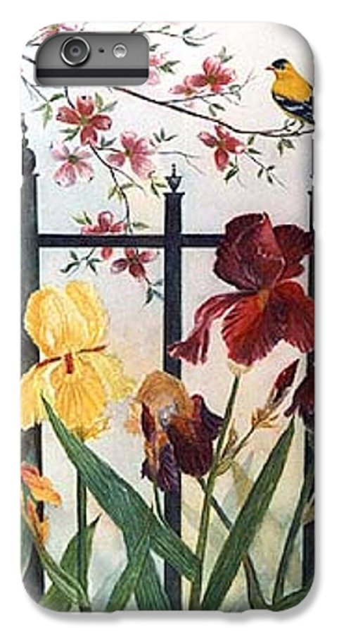 Irises; American Goldfinch; Dogwood Tree IPhone 7 Plus Case featuring the painting Victorian Garden by Ben Kiger