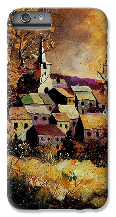 River IPhone 7 Plus Case featuring the painting Village In Fall by Pol Ledent