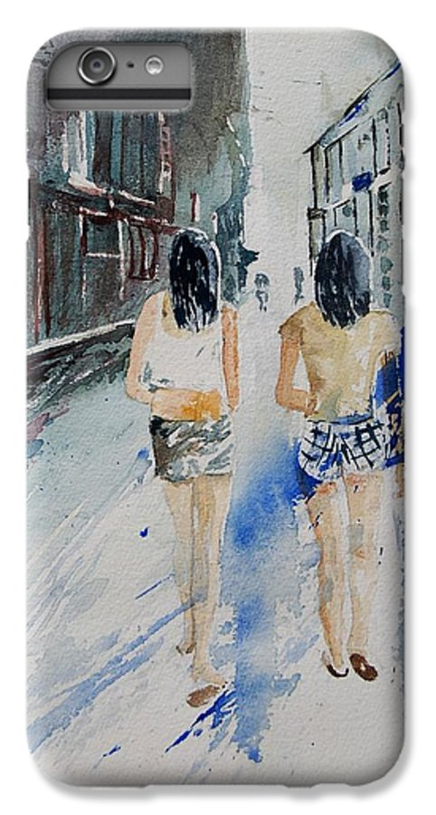 Girl IPhone 7 Plus Case featuring the painting Walking In The Street by Pol Ledent