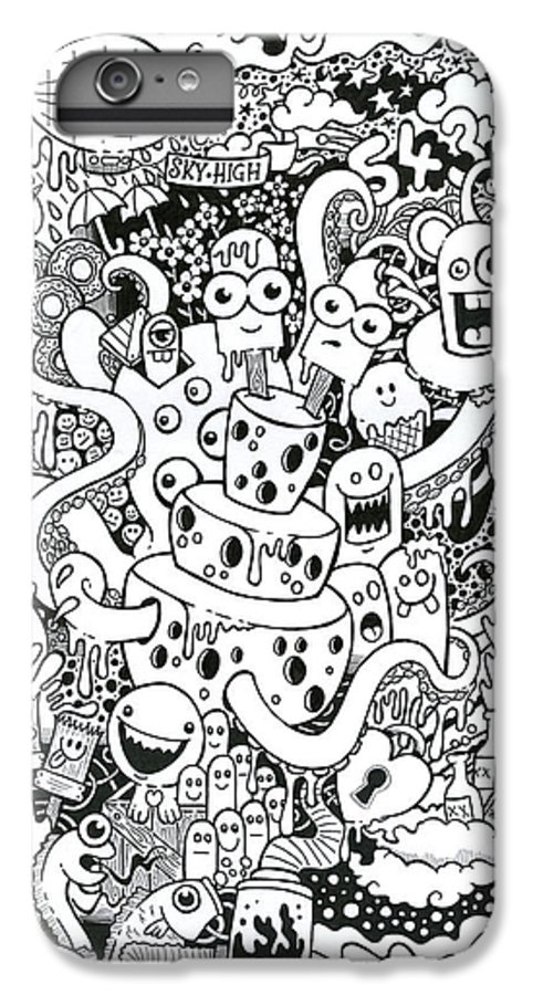 Illustration IPhone 7 Plus Case featuring the drawing We All Love Cheese by Samuel Whitton