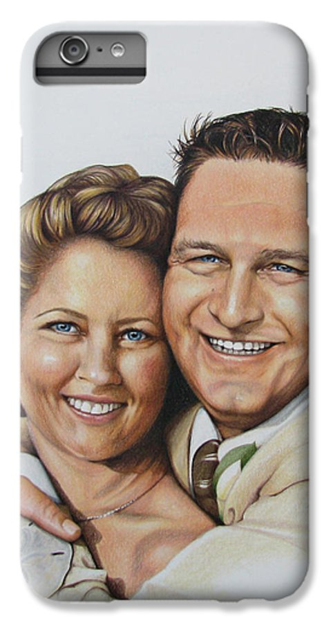 Wedding Portraits IPhone 7 Plus Case featuring the painting Wedding Portrait Jeremy N Katie by Joan Garcia