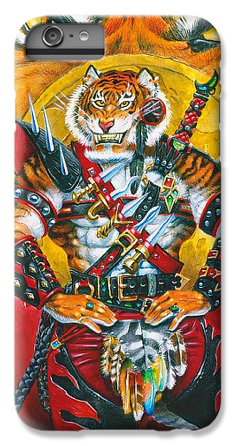 Fantasy IPhone 7 Plus Case featuring the painting Werecat Warrior by Melissa A Benson