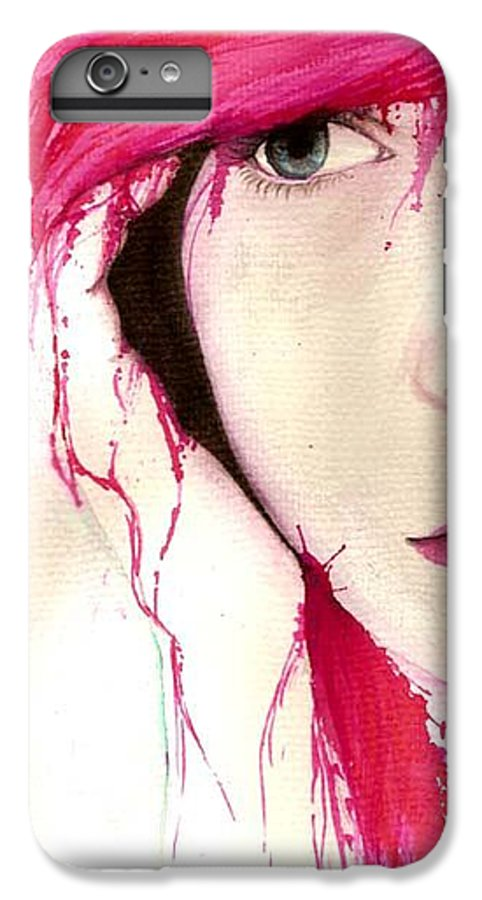 Pink Girl IPhone 7 Plus Case featuring the drawing Where Do You Think Beauty Goes by Freja Friborg