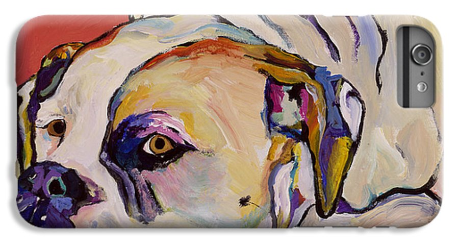 American Bulldog IPhone 7 Plus Case featuring the painting Where Is My Dinner by Pat Saunders-White