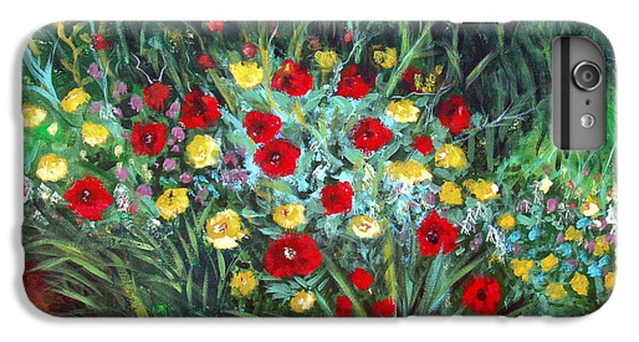 Abstract IPhone 7 Plus Case featuring the painting Wildflower Garden 1 by Nancy Mueller