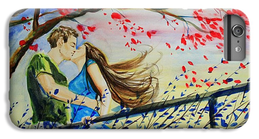 Wind IPhone 7 Plus Case featuring the painting Windy Kiss by Laura Rispoli