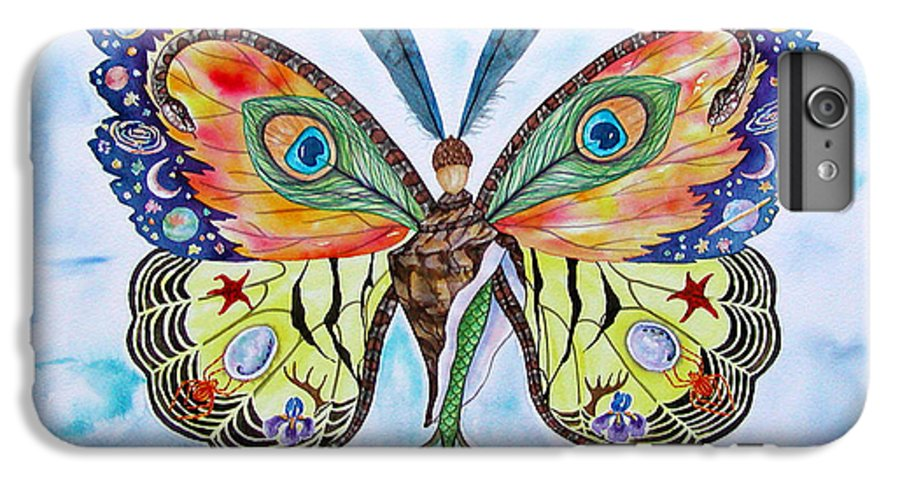 Butterfly IPhone 7 Plus Case featuring the painting Winged Metamorphosis by Lucy Arnold