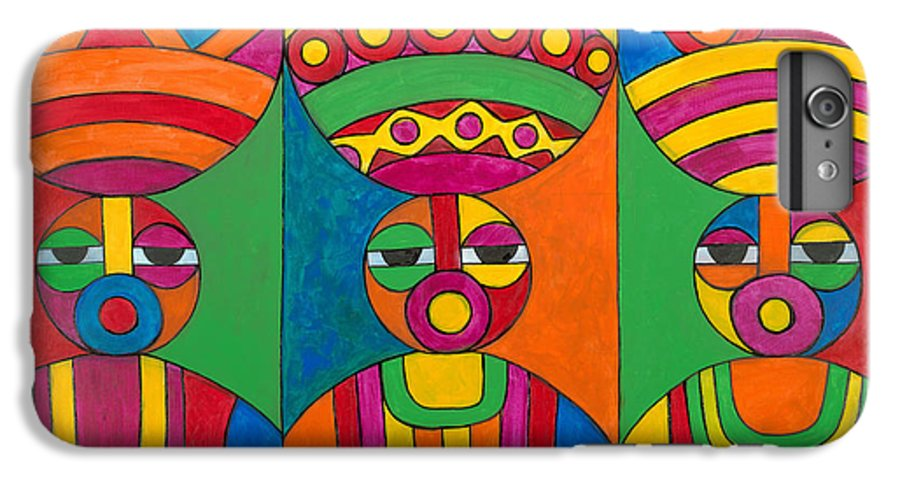 Abstract IPhone 7 Plus Case featuring the painting Women With Calabashes by Emeka Okoro