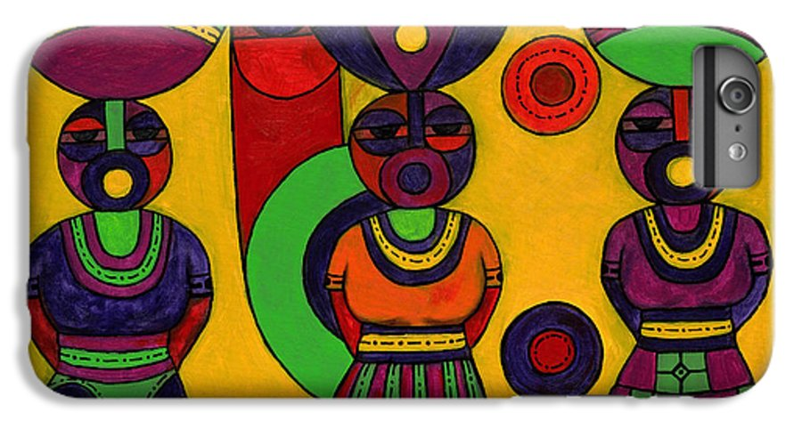 Women IPhone 7 Plus Case featuring the painting Women With Calabashes II by Emeka Okoro