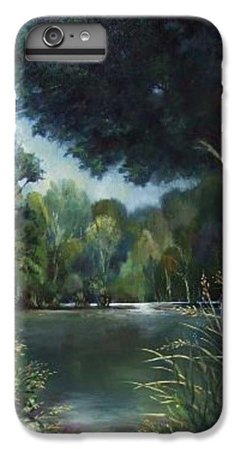 Landscape Woodland IPhone 7 Plus Case featuring the painting Woodland Pond by Ruth Stromswold