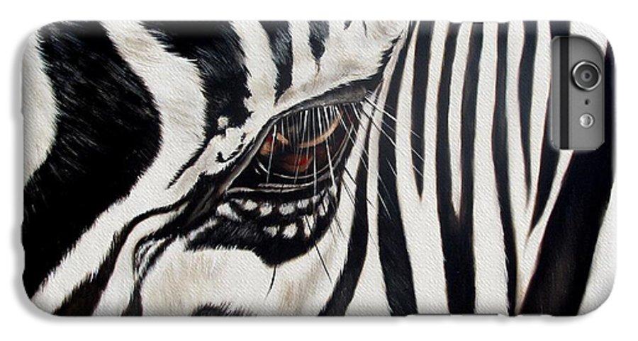 Zebra IPhone 7 Plus Case featuring the painting Zebra Eye by Ilse Kleyn