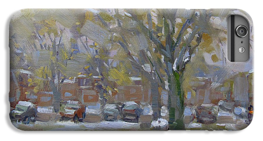 Snowfall IPhone 7 Plus Case featuring the painting First Snowfall November 2018 by Ylli Haruni