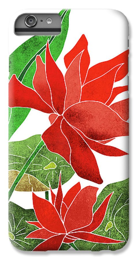 Red Lotus Flower Botanical Floral Tropical Art Modern Minimal Decor Red Green Iphone 7 Plus Case