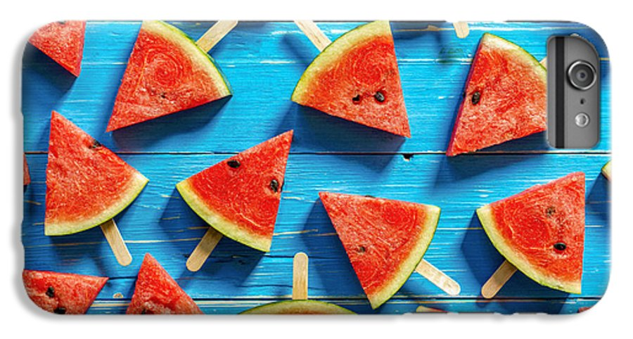Ice IPhone 7 Plus Case featuring the photograph Watermelon Slice Popsicles On A Blue by I Am Kulz