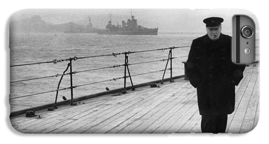 Winston Churchill IPhone 7 Plus Case featuring the photograph Winston Churchill At Sea by War Is Hell Store