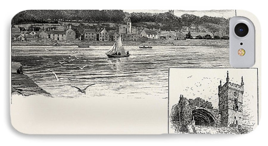 Culross IPhone 8 Case featuring the drawing Culross, From The Pier Left, Culross Abbey Right by Scottish School