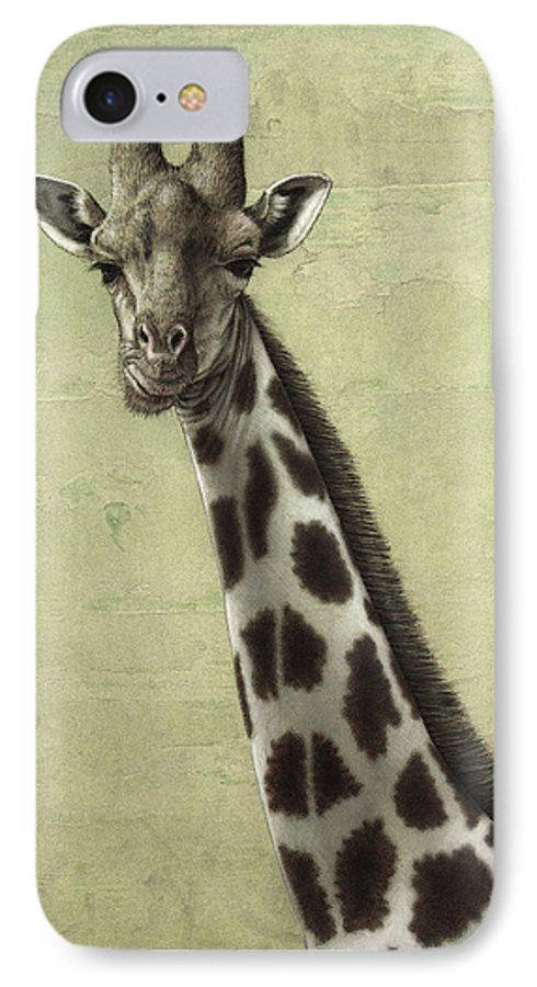 Giraffe IPhone 8 Case featuring the painting Giraffe by James W Johnson