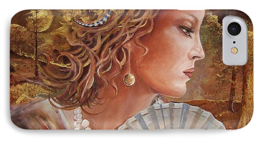 Female Portrait IPhone Case featuring the painting Golden Wood by Sinisa Saratlic