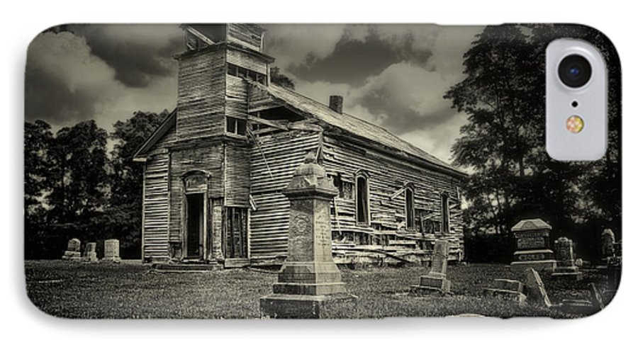Cemetery IPhone 8 Case featuring the photograph Gospel Center Church II by Tom Mc Nemar