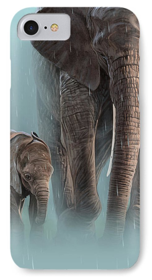 Elephant IPhone 8 Case featuring the digital art Mother And Child by Aaron Blaise