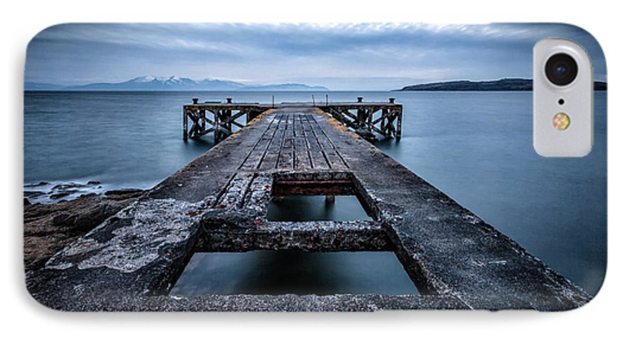 Ayrshire IPhone 8 Case featuring the photograph Portencross Pier And Views To Arran by John Farnan