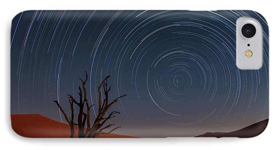 Deadvlei IPhone 8 Case featuring the photograph Star Trails Of Namibia by Karen Deakin
