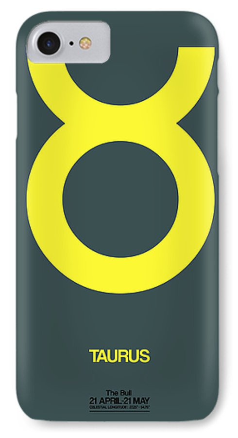 Taurus IPhone 8 Case featuring the digital art Taurus Zodiac Sign Yellow by Naxart Studio