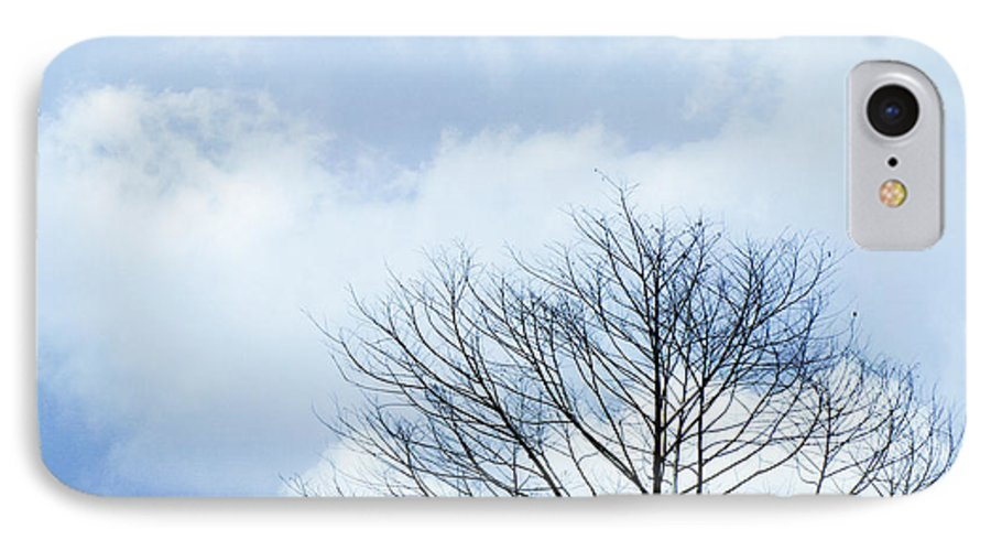 Winter Fall White Sky IPhone 8 Case featuring the photograph Winter Tree by Adelista J