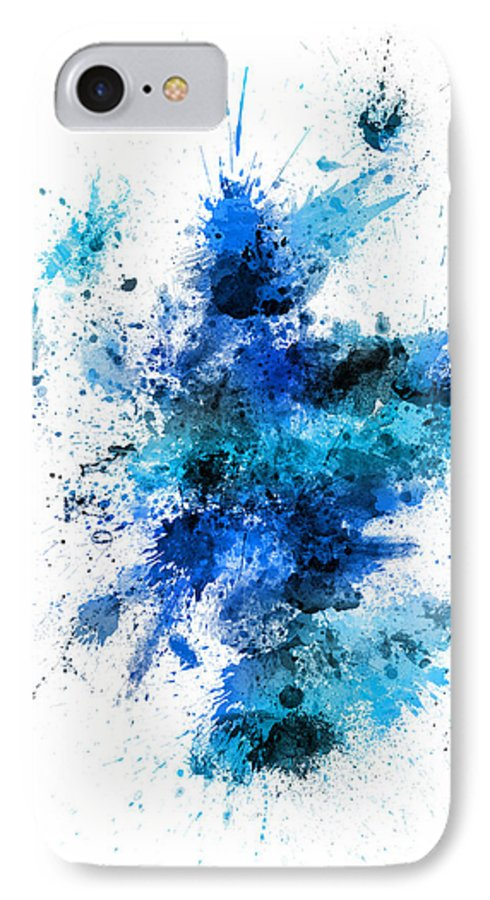 Map Art IPhone 8 Case featuring the digital art Scotland Paint Splashes Map by Michael Tompsett