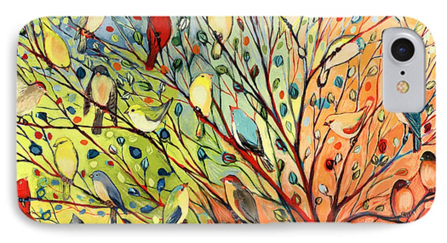 Bird IPhone 8 Case featuring the painting 27 Birds by Jennifer Lommers