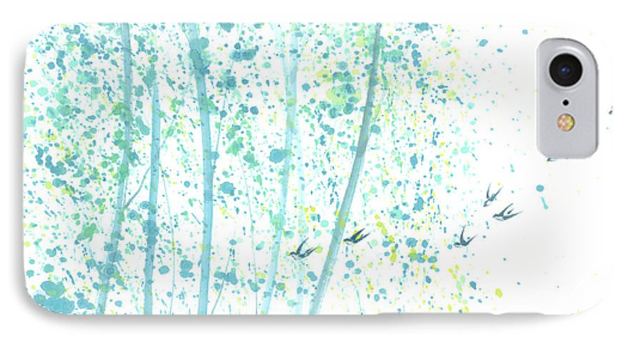 Birds Flying Through An Aspen Forest. This Is A Contemporary Chinese Ink And Color On Rice Paper Painting With Simple Zen Style Brush Strokes. IPhone Case featuring the painting Aspen Forest by Mui-Joo Wee