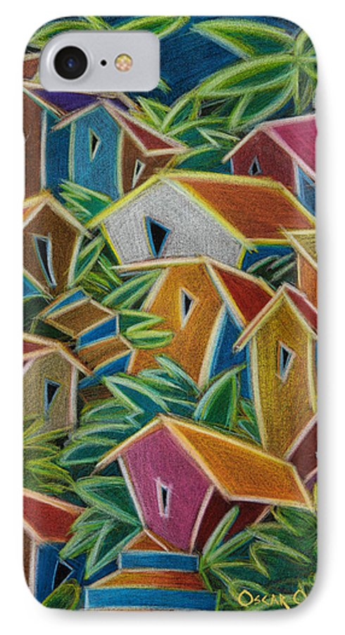 Landscape IPhone Case featuring the painting Barrio Lindo by Oscar Ortiz