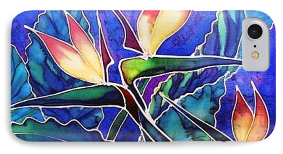 Silk Painting IPhone Case featuring the painting Birds Of Paradise II by Francine Dufour Jones