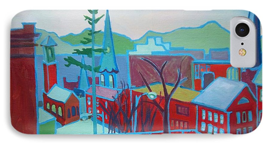 Burlington IPhone Case featuring the painting Blue Burlington by Debra Bretton Robinson