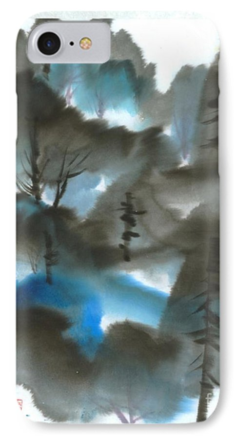A Forest With A Tint Of Blue. This Is A Contemporary Chinese Ink And Color On Rice Paper Painting With Simple Zen Style Brush Strokes.  IPhone Case featuring the painting Blue Forest by Mui-Joo Wee