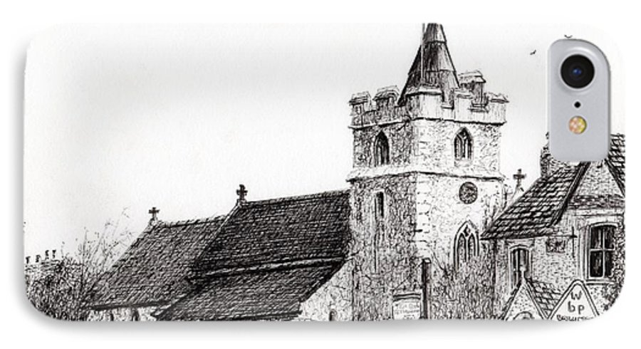 Black And White IPhone 8 Case featuring the drawing Brighstone Church by Vincent Alexander Booth