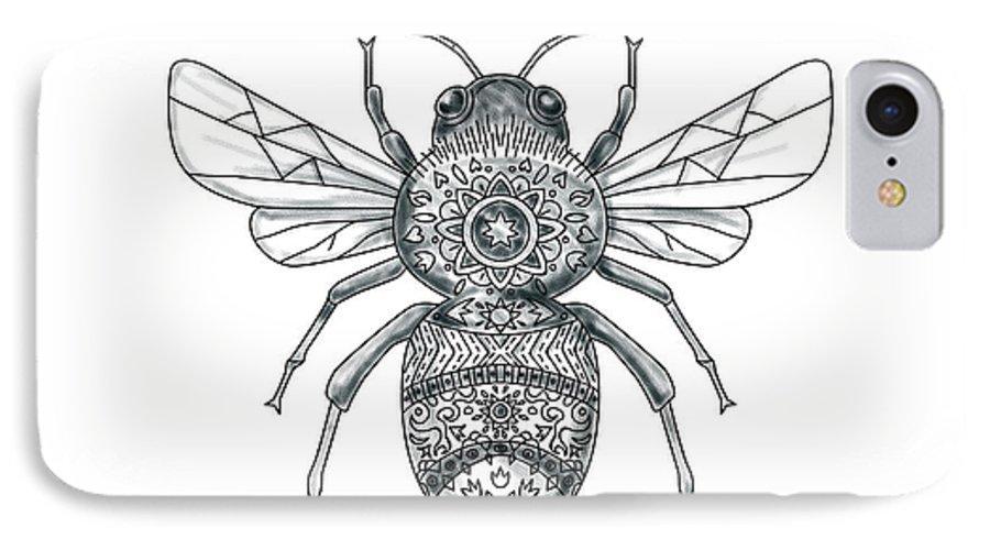 1c4a422246990 Tattoo IPhone 8 Case featuring the digital art Bumble Bee Mandala Tattoo by Aloysius  Patrimonio