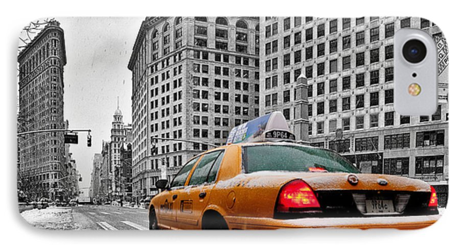 New York City Print IPhone 8 Case featuring the photograph Colour Popped Nyc Cab In Front Of The Flat Iron Building by John Farnan